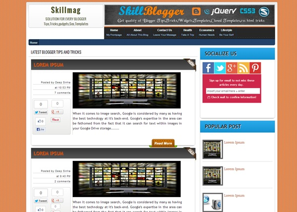 Skillmag free blogger template download