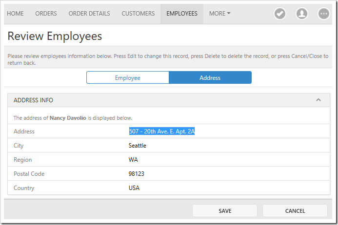 The Employees page with a multi category layout in two tabs. Field values are displayed in the category description.