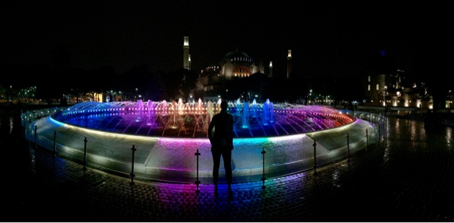 Fountain between Hagia Sophia and the Blue Mosque at night
