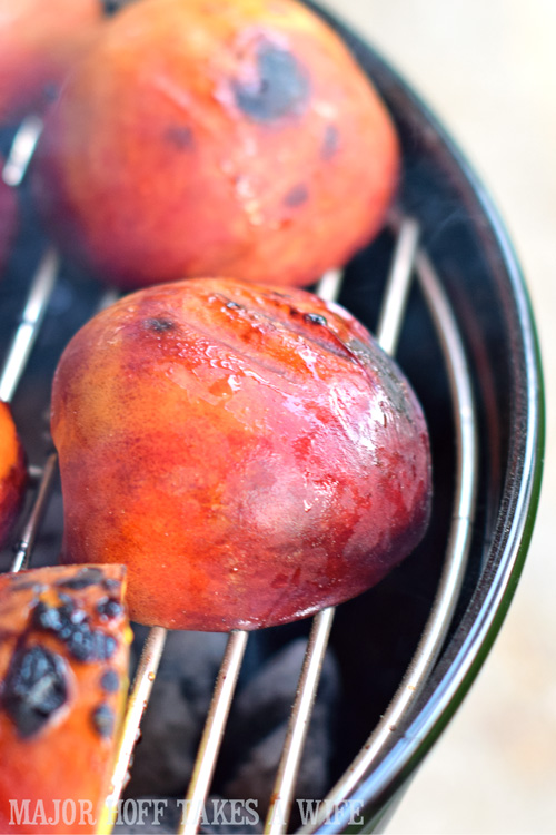 Grilling Peaches on a charcoal grill