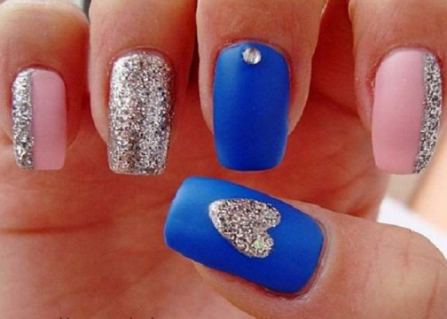 Simple nail art blue and silver : Posts d valentine s day nail art designs