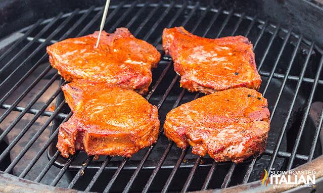 smoking a pork chop on a pellet smoker