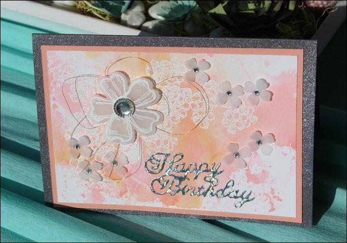 Glückwunsch Gebrutstagskarte Aquarell Rosa Blumen Perlmutt 03