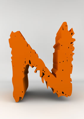 lettre 3D chiffron de craie orange - N - images libres de droit