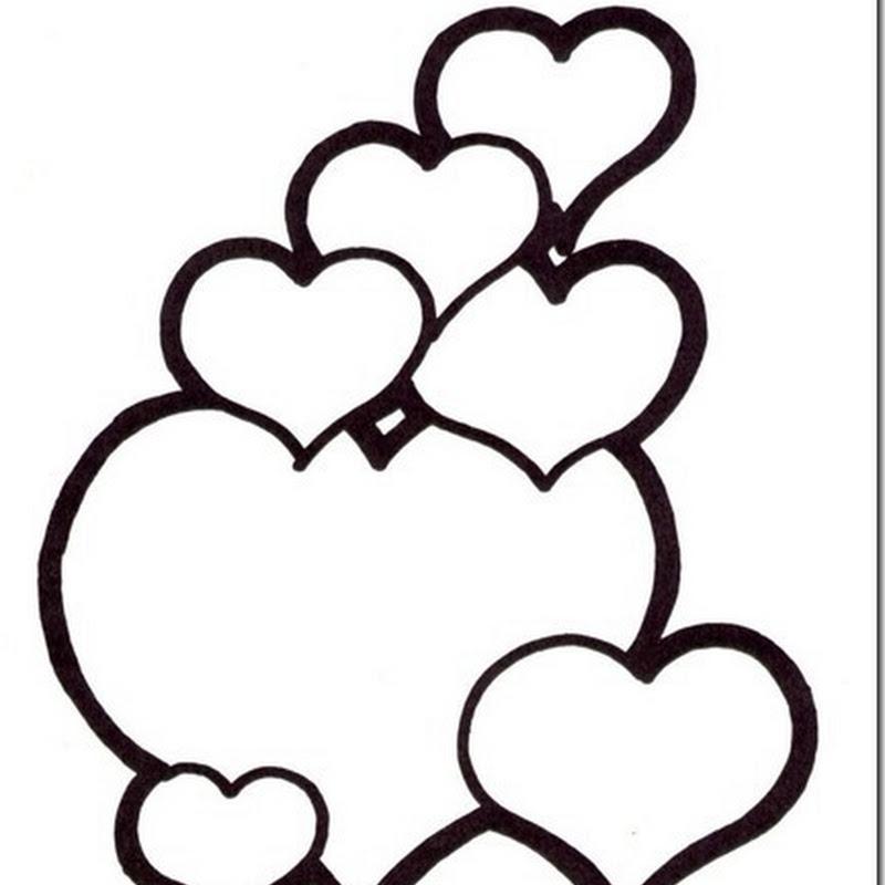 Muchos dibujos de corazones para colorear