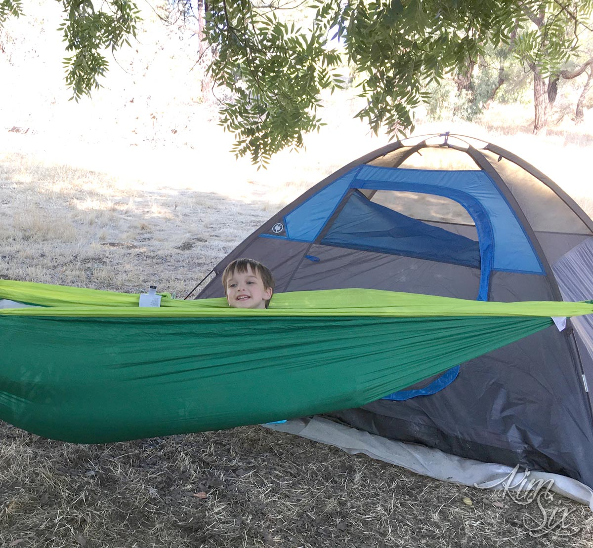 Using a hammock while camping