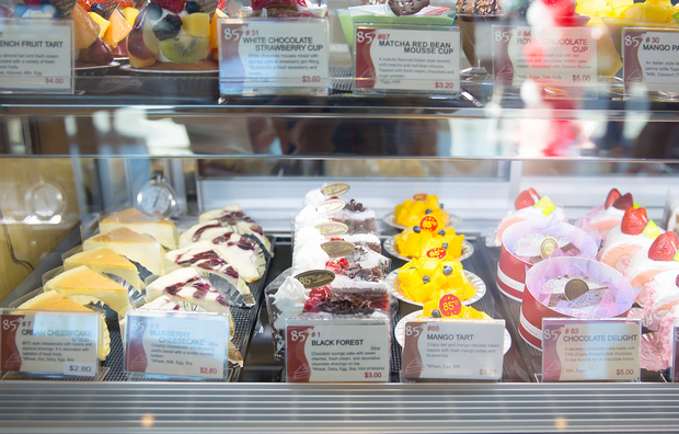 photo of different desserts in a display case