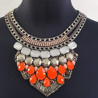 *SALE* Karen Millen NEW Knit Orange  Stone Necklace