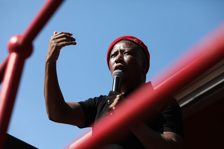 EFF leader Julius Malema urged people to register to vote if they want better houses instead of 'matchboxes' without electricity. File photo.