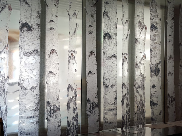 Gorgeous birch tree art behind the front desk. From Where to Stay - and Eat - in Miramichi, New Brunswick: the Rodd Hotel and Resort, and their fantastic 1809 Restaurant