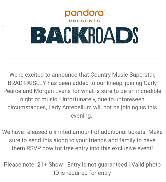 Brad paisley to fill in for lady antebellum at pandora backroads brad paisley to fill in for lady antebellum at pandora backroads show tonight m4hsunfo