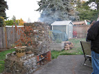 First fire in the firepit in more than two years, likely to be torn down and replaced over the winter.