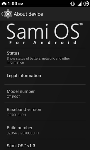 Sami OS 1.3 - About device