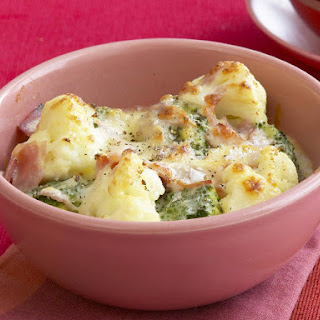 Cauliflower, Broccoli and Ham Gratin