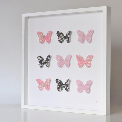 Grand cadre papillons Gris et rose Mille Coquelicots