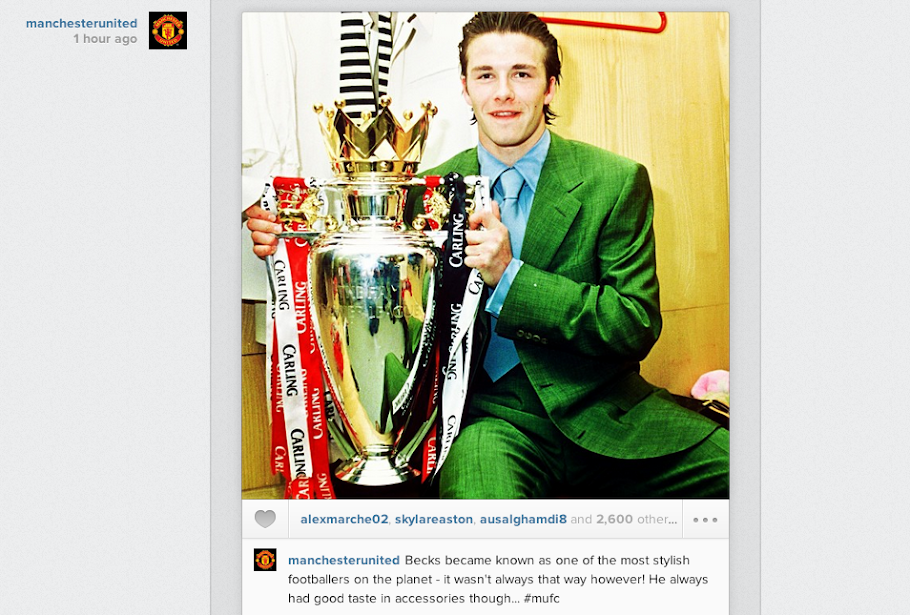 Man United Instagram account posts Old Skool picture of David Beckham in a garish green suit!