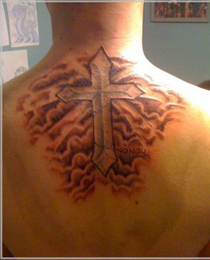 Cloud tattoo with cross