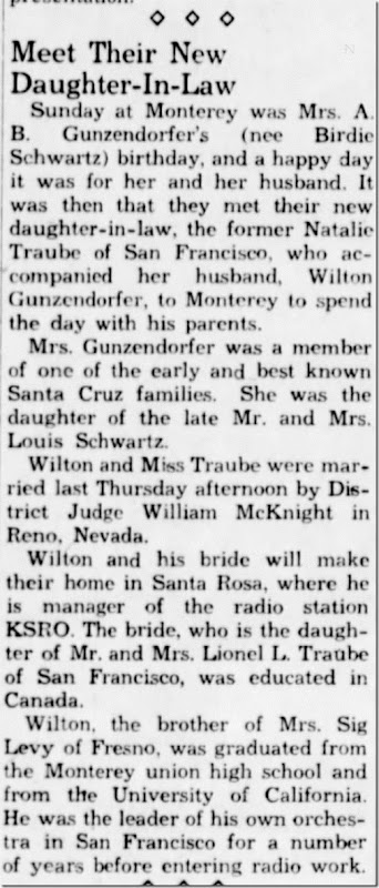 Meet new daughter in law Santa Cruz Sentinel 26 Jan 1940