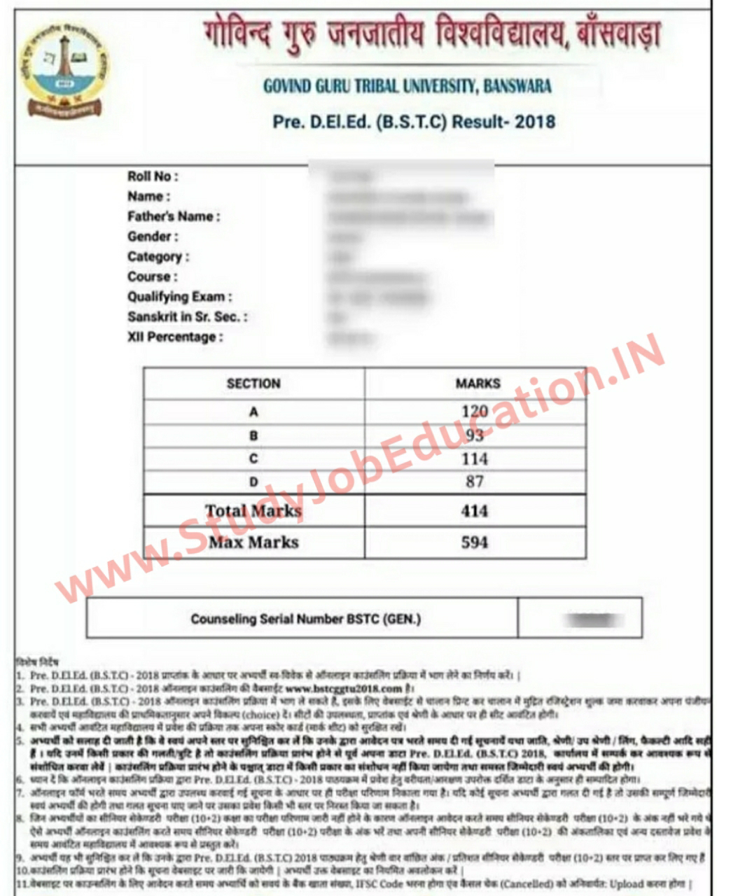 Rajasthan BSTC Exam Result 2020