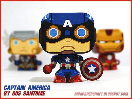 Mini Captain America Paper Toy