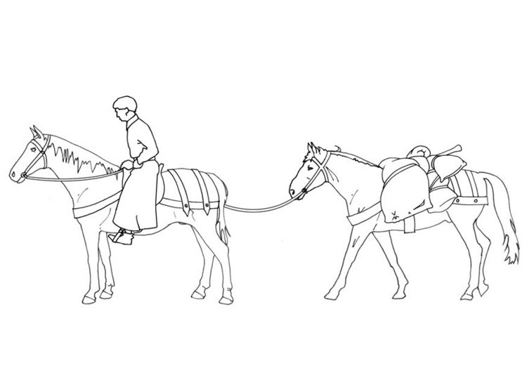 Lord with horse and mule coloring pages