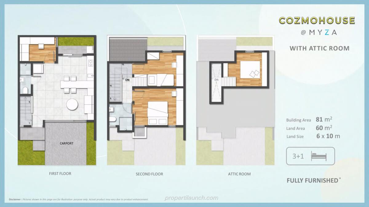 Denah Rumah Cozmo House BSD + Attic