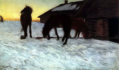 Valentin Serov - Colts at Watering. Domotkanovo. 1904