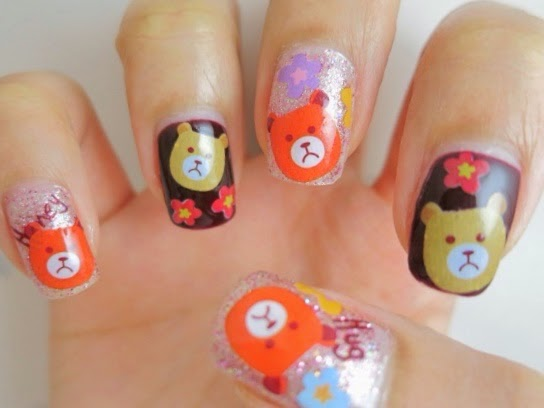 Teddy Bear Water Decal Nail Art YU481