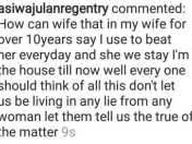 """How can my wife say I beat her everyday & still stay in our house till now?""- Lanre Gentry"
