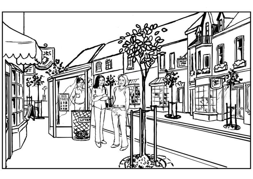 Dibujo De Una Ciudad Para Colorear