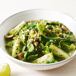 Mixed greens with Indian-style green chutney.
