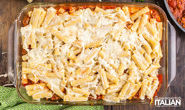 Easy Baked Ziti Recipe pasta with cheese in dish