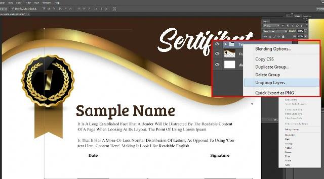 Download Sertifikat PSD Adobe Photoshop Emas Elegant