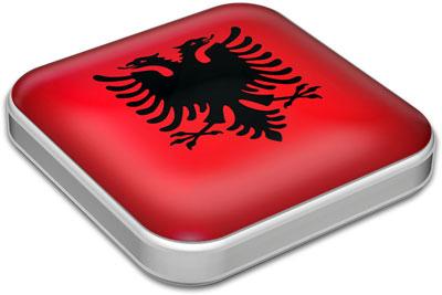 Flag of Albania with metallic square frame