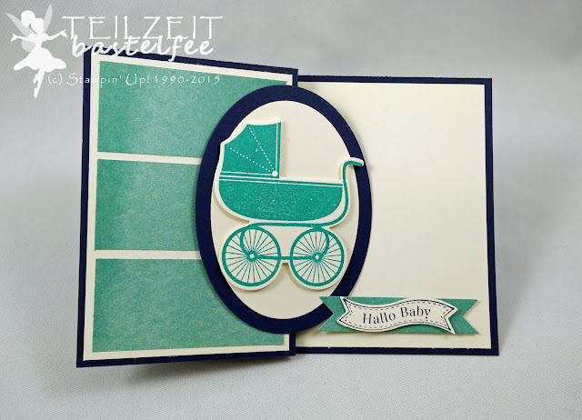Stampin' Up! -  Babykarte, Card Birth Baby, Something for Baby, Framelits Alles fürs Baby, Framelits Oval Collection, Z-Card, DP Kunstvoll kreiert, DSP Perfectly Artistic, SAB, Famose Fähnchen, Itty Bitty Banners, Framelits Bitty Banners