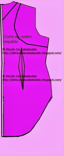 Trazo de sisa revocada y escote en patrón espalda con corte en centro cola de pato