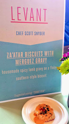 Portland Monthly Country Brunch 2015, Levant offered Za'atar biscuits with merguez gravy, a housemade spicy lamb gravy on a flaky southern style biscuit