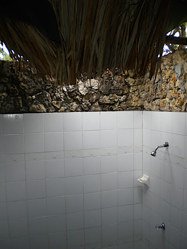 When it rained, the rain water drained into the shower.
