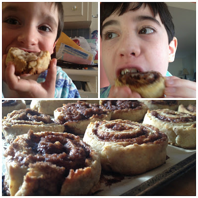 Grandsons eating cinnamon rolls