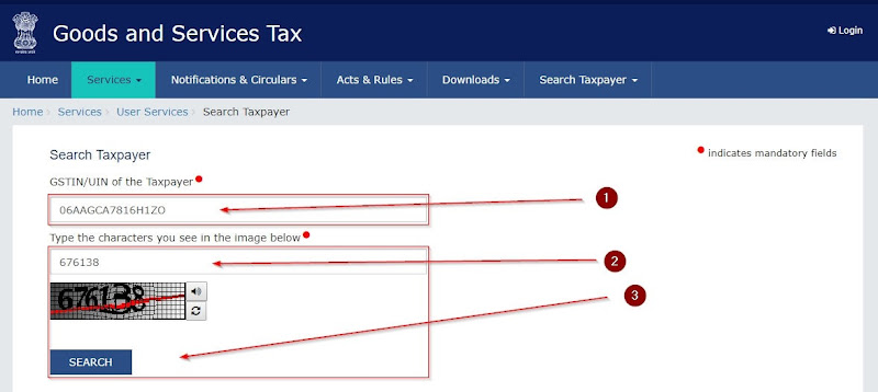 search taxpayer with gst number