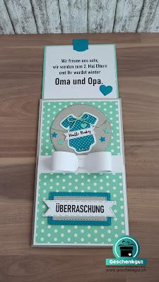 Überraschungskarte Schwangerschaft,Grosseltern Oma Opa Onkel Tante Patin Pate Gotti Götti