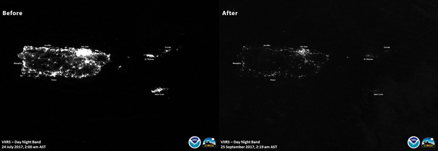 The Suomi NPP satellite generated this before/after image of visible lights in PuertoRico in early morning 25 September 2017 vs. 24 July 2017. Photo: NOAA Satellites