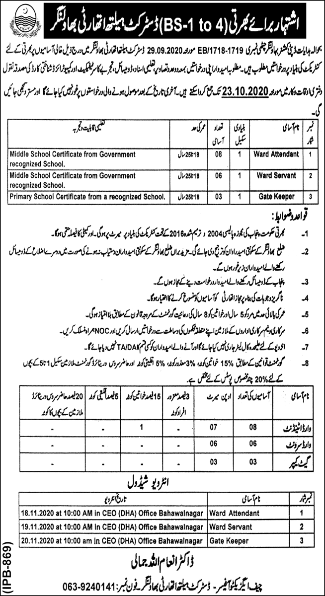 District Health Authority Jobs October 2020