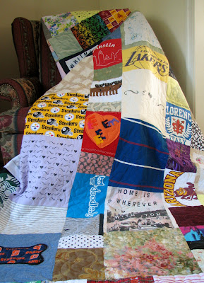 Homemade hearts, precious hankies, and grandpa's shirt!  This Chuppah quilt has many good wishes!