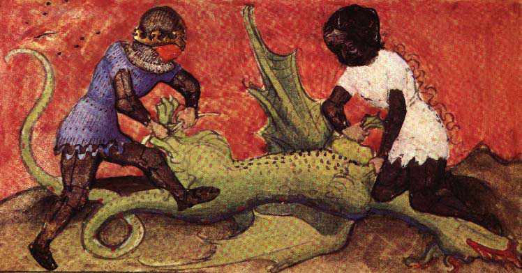 Aurora Consurgens Manuscript Fig6 Two People Have Overcome A Dragon, Hermetic Emblems From Manuscripts 1