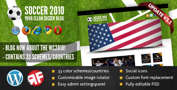 Themeforest SOCCER2010 - 33 countries in 1 theme v1.1