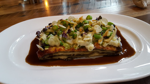 Vegetable lasagna: House made pasta, ricotta, mushrooms, crispy garlic, asparagus pesto. The Guild House, Columbus, Ohio