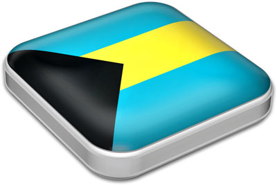 Flag of Bahamas with metallic square frame