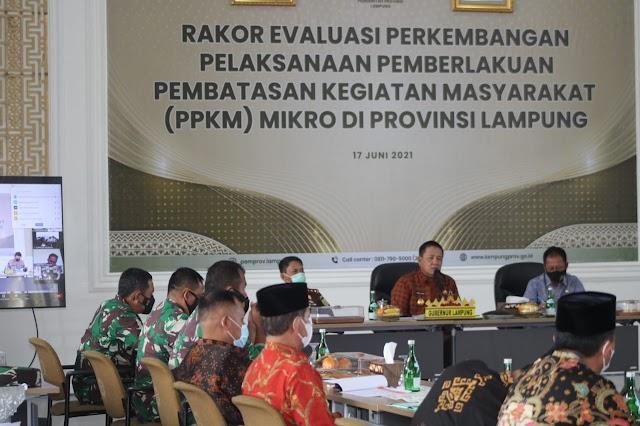 Danrem 043/Gatam Hadiri Rakor Evaluasi PPKM Mikro di Provinsi Lampung