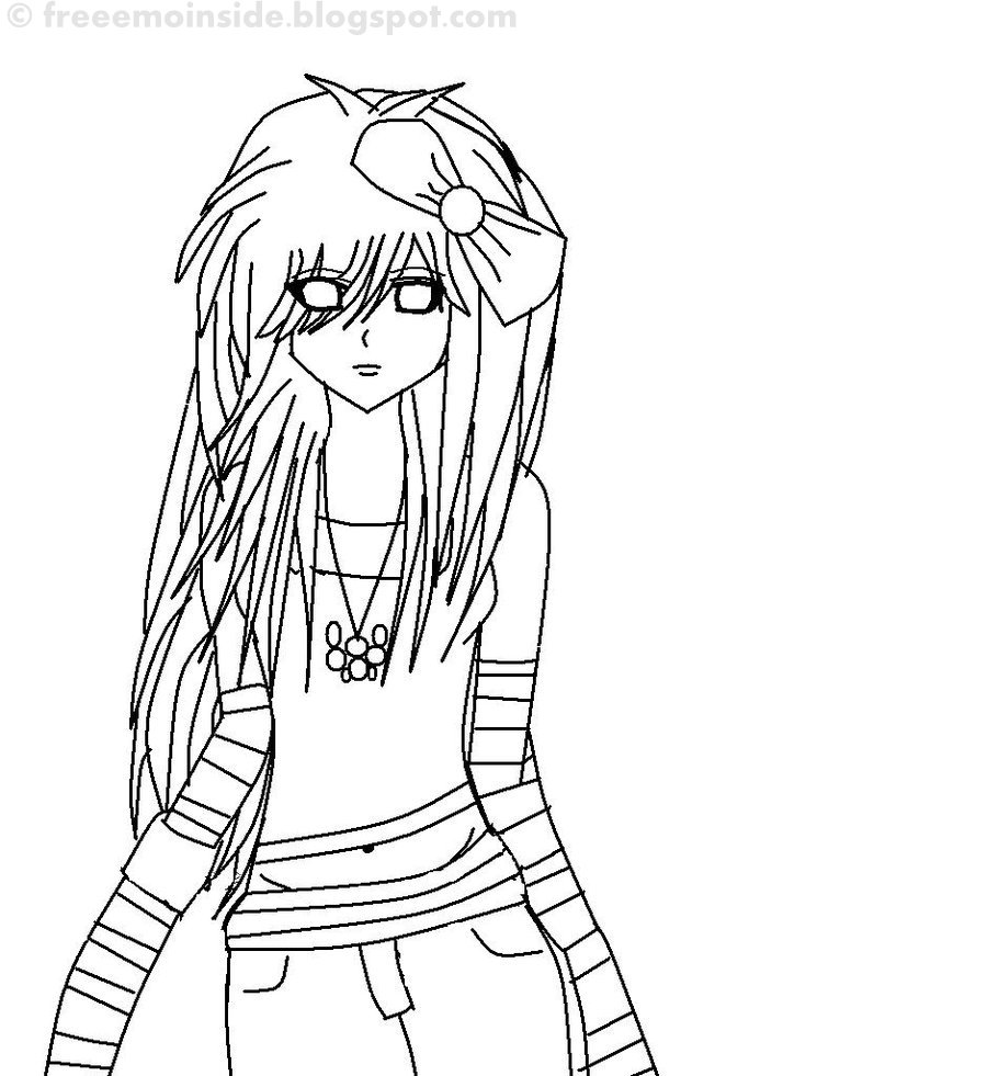 emo heart coloring pages | EMO Blog: EMO Girl Line Art